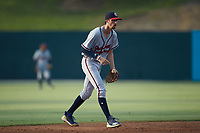 Rome Braves shortstop Braden Shewmake (39) on defense against the Kannapolis Intimidators at Kannapolis Intimidators Stadium on July 2, 2019 in Kannapolis, North Carolina.  The Intimidators walked-off the Braves 5-4. (Brian Westerholt/Four Seam Images)