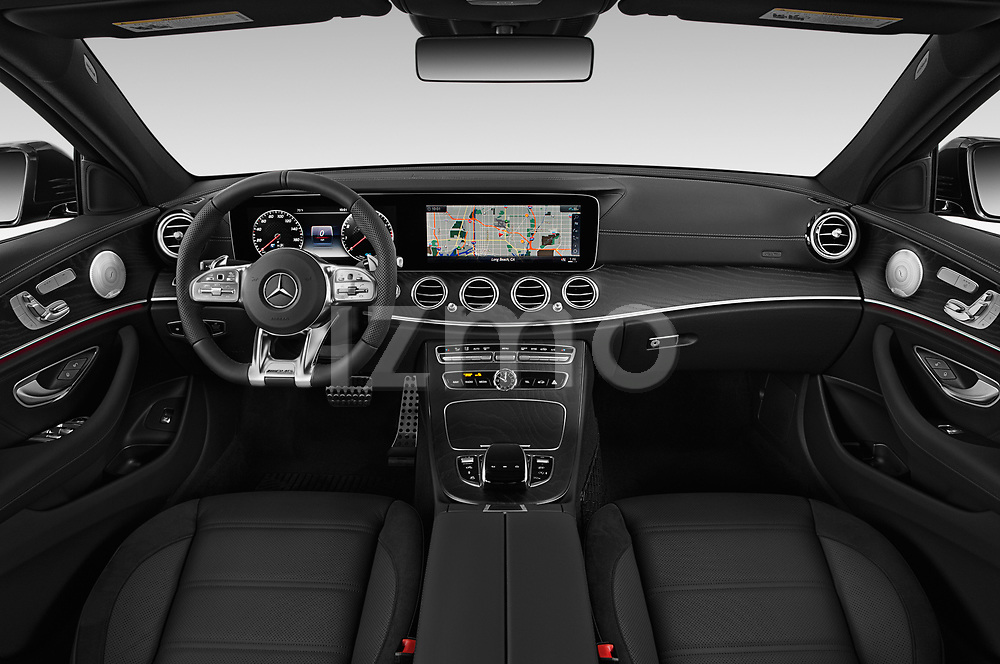 Stock photo of straight dashboard view of 2020 Mercedes Benz E-Class AMG-E53 4 Door Sedan Dashboard