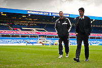 Saturday 25 January 2014<br /> Pictured: Morten Olsen and Michael Laudrup, Manager of Swansea City inspect the pitch at St.Andrews ahead of the game   Re: Birmingham City v Swansea City FA Cup fourth round match at St. Andrew's Birimingham
