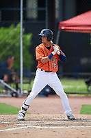 GCL Astros left fielder Carlos Diaz (12) at bat during a game against the GCL Marlins on August 5, 2018 at FITTEAM Ballpark of the Palm Beaches in West Palm Beach, Florida.  GCL Astros defeated GCL Marlins 2-1.  (Mike Janes/Four Seam Images)