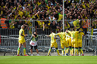 19th September  2021; Angers, Pays de la Loire, France; French League 1 football Angers versus Nantes;    Nantes players celebrate the goal from Ludovic BLAS