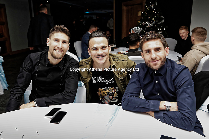 Pictured: (L-R) Federico Fernandez, Roque Mesa and Angel Rangel of Swansea City <br /> Re: Swansea City FC Christmas party at the Liberty Stadium, Wales, UK. Thursday 14 December 2017