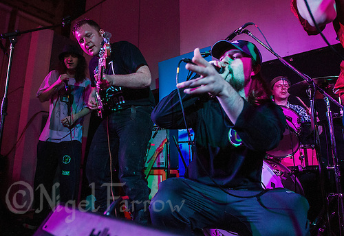 08 APR 2016 - STOWMARKET, GBR - Ben Brown (left on guitar) of Superglu joins with Whispy Ray (right),  and Muckaniks and members of the Indigo Frequency label during a recording for BBC Introducing at the John Peel Centre for Creative Arts in Stowmarket, Suffolk, Great Britain (PHOTO COPYRIGHT © 2016 NIGEL FARROW, ALL RIGHTS RESERVED)