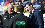 Inverness Caley v St Johnstone…08.04.17     SPFL    Tulloch Stadium<br />Brian Rice and Tommy Wright have a laugh with 4th official Alan Muir<br />Picture by Graeme Hart.<br />Copyright Perthshire Picture Agency<br />Tel: 01738 623350  Mobile: 07990 594431