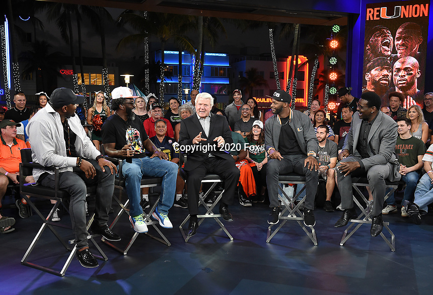 """MIAMI BEACH, FL - JANUARY 28:  (L-R) Ray Lewis, Ed Reed, Jimmy Johnson, Reggie Wayne, and Michael Irvin discuss Fox Sports """"The ReUnion"""" at the Fox Sports South Beach studio during Super Bowl LIV week on January 29, 2020 in Miami Beach, Florida. (Photo by Frank Micelotta/Fox Sports/PictureGroup)"""