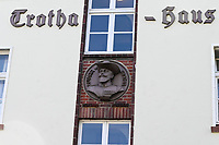 GERMANY, Hamburg, colonial German history, former Nazi Lettow-Vorbeck barracks in Jenfeld , built 1936-38, later used by Bundeswehr until 1999, bust of commander of the german colonial troops / DEUTSCHLAND, Hamburg, Germany, Hamburg, Gelaende der ehemaligen Wehrmacht Kaserne Lettow-Vorbeck in Jenfeld, später genutzt von der Bundeswehr bis 1999, zur Zeit Wohnheim der Bundeswehr Universität, Büsten von Kommandeuren der Kolonialtruppen an den Kasernen, Lothar von Trotha 1848-1920, Kommandeur der Kaiserlichen Schutztruppe in Deutsch-Südwestafrika, sein Vernichtungsbefehl gilt als Grundlage des Völkermordes an den Herero und Nama