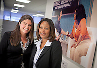 Lafayette student Millie Gonzalez ( in solid blue blouse ) enjoyed her internship with Alumni host Kara Boodakian  ( in print blouse)  at the Nate Berkus Show in New York CIty on January 20, 2011