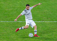 WASHINGTON, DC - NOVEMBER 8: Rudy Camacho #4 of the Montreal Impact crosses the ball during a game between Montreal Impact and D.C. United at Audi Field on November 8, 2020 in Washington, DC.