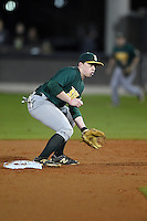 Siena Saints infielder Jordan Bishop (4) picks a throw in the dirt during the opening game of the season against the UCF Knights on February 13, 2015 at Jay Bergman Field in Orlando, Florida.  UCF defeated Siena 4-1.  (Mike Janes/Four Seam Images)