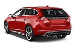 Car pictures of rear three quarter view of a 2014 Volvo V60 Summum R-design 5 Door Wagon 2WD Angular Rear