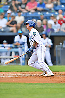 Asheville Tourists Korey Lee (5) swings at a pitch during a game against the Greenville Drive on May 18, 2021 at McCormick Field in Asheville, NC. (Tony Farlow/Four Seam Images)