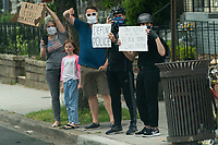 Protesters demonstrate along the route taken by United States President Donald Trump and First lady Melania Trump to visit the Saint John Paul II National Shrine in Washington, DC on Tuesday, June 2, 2020.<br /> Credit: Chris Kleponis / Pool via CNP/AdMedia