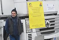 - Milan, hundreds of truck has gathered on S.Siro stadium square for the protest of the haulers against the financial law of government..- Milano, centinaia di camion si sono radunati sul piazzale dello stadio di S.Siro per la protesta degli autotrasportatori contro la legge finanziaria del governo