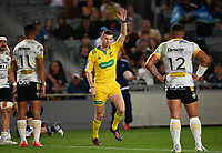3rd April 2021; Eden Park, Auckland, New Zealand;  Referee Brendon Pickerill awards a penalty try to the Blues. Blues v Hurricanes Super Rugby Aotearoa. Eden Park, Auckland. New Zealand.