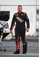 Feb 13, 2016; Pomona, CA, USA; NHRA funny car driver Jim Campbell during the Winternationals at Auto Club Raceway at Pomona. Mandatory Credit: Mark J. Rebilas-USA TODAY Sports