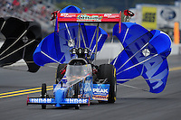 Sept. 17, 2011; Concord, NC, USA: NHRA top fuel dragster driver T.J. Zizzo during qualifying for the O'Reilly Auto Parts Nationals at zMax Dragway. Mandatory Credit: Mark J. Rebilas-