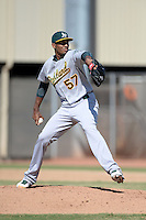 Oakland Athletics pitcher Michael Ynoa (57) during an Instructional League game against the Milwaukee Brewers on October 10, 2013 at Maryvale Baseball Park Training Complex in Phoenix, Arizona.  (Mike Janes/Four Seam Images)