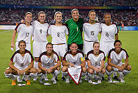 The USWNT lines up before playing at Worker's Stadium.  The USWNT defeated Japan, 4-2, during the semi-finals of the Beijing 2008 Olympics in Beijing, China.
