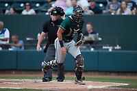 Greensboro Grasshoppers catcher Blake Sabol (35) on defense against the Winston-Salem Dash at Truist Stadium on August 13, 2021 in Winston-Salem, North Carolina. (Brian Westerholt/Four Seam Images)