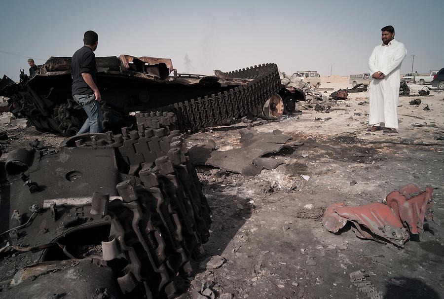 Aftermath of NATO strike between Ajdabiya nad Brega, Libya