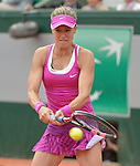 Eugenie Bouchard (CAN) loses to Kristina Mladenovic (FRA) 6-4, 6-4 at  Roland Garros being played at Stade Roland Garros in Paris, France on May 26, 2015