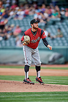 Sacramento River Cats starting pitcher Matt Gage (47) delivers a pitch to the plate against the Salt Lake Bees  at Smith's Ballpark on May 17, 2018 in Salt Lake City, Utah. Salt Lake defeated Sacramento 12-11. (Stephen Smith/Four Seam Images)