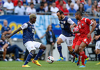 Chicago, IL - Sunday July 28, 2013:   USMNT forward Landon Donovan (10) and Eddie Johnson (26) during the CONCACAF Gold Cup Finals soccer match between the USMNT and Panama, at Soldier Field in Chicago, IL.