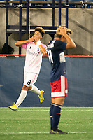 FOXBOROUGH, MA - SEPTEMBER 04: Michael Vang #8 Forward Madison FC celebrates the first goal of the night for Forward Madison FC during a game between Forward Madison FC and New England Revolution II at Gillette Stadium on September 04, 2020 in Foxborough, Massachusetts.