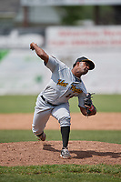 West Virginia Black Bears relief pitcher Joel Cesar (44) delivers a warmup pitch during a game against the Batavia Muckdogs on June 25, 2017 at Dwyer Stadium in Batavia, New York.  West Virginia defeated Batavia 6-4 in the completion of the game started on June 24th.  (Mike Janes/Four Seam Images)
