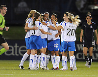 Boston Breakers  midfielder Angela Hucles (16) celebrates her goal with her teammates.  Boston Breakers defeated Washington Freedom 3-1 at The Maryland SoccerPlex, Saturday April 18, 2009.