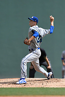 Starting pitcher Jackson Kowar (29) of the Lexington Legends delivers a pitch in a game against the Greenville Drive on Tuesday, July 17, 2018, at Fluor Field at the West End in Greenville, South Carolina. Kowar is the Kansas City Royals' First-Round pick in the 2018 First-Year Player Draft. Lexington won, 10-3. (Tom Priddy/Four Seam Images)