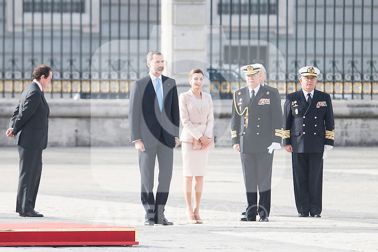 King Felipe VI of Spain and Queen Letizia during state visit of the president of Argentinian Republic, Sr. Mauricio Macri and Sra Juliana Awada at Real Palace in Madrid, Spain. February 19, 2017. (ALTERPHOTOS/BorjaB.Hojas)