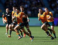 5th September 2021; Optus Stadium, Perth, Australia: Bledisloe Cup international rugby, Australia versus New Zealand; Noah Lolesio of the Wallabies makes a break through the All Blacks defense