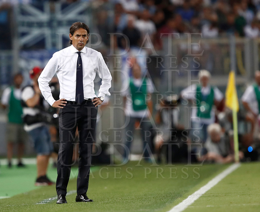 Calcio, Football - Juventus vs Lazio Italian Super Cup Final  <br /> Lazio's coach Simone Inzaghi in looks on during the Italian Super Cup Final football match between Juventus and Lazio at Rome's Olympic stadium, on August 13, 2017.<br /> UPDATE IMAGES PRESS/Isabella Bonotto