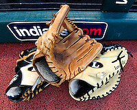4 September 2009: Cleveland Indians baseball gloves lie at the dugout prior to a game against the Minnesota Twins at Progressive Field in Cleveland, Ohio. The Indians defeated the Twins 5-2 to take the first game of their three-game weekend series. Mandatory Credit: Ed Wolfstein Photo