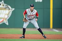 Gwinnett Braves first baseman Jordan Lennerton (32) on defense against the Charlotte Knights at BB&T BallPark on August 11, 2015 in Charlotte, North Carolina.  The Knights defeated the Braves 3-2.  (Brian Westerholt/Four Seam Images)