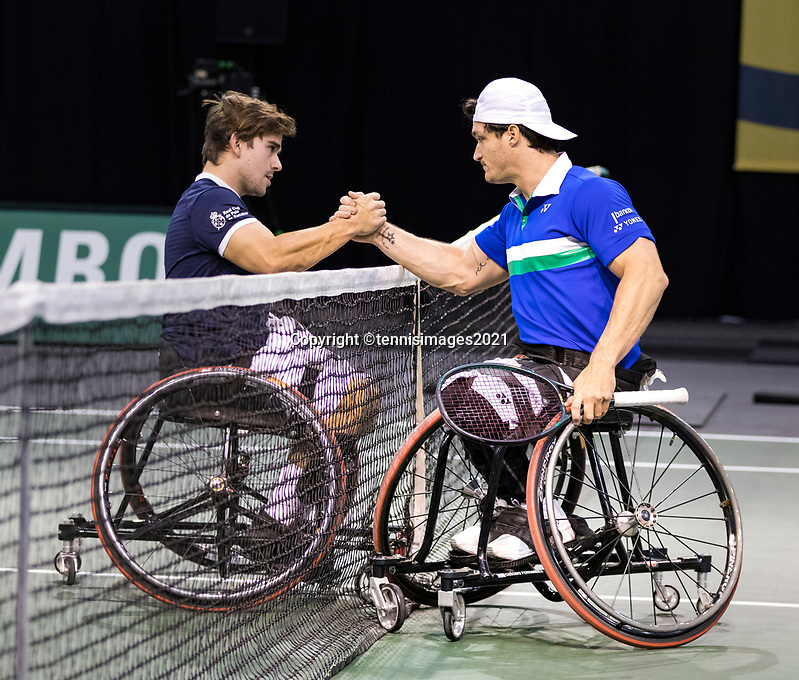 Rotterdam, The Netherlands, 5 march  2021, ABNAMRO World Tennis Tournament, Ahoy,  Second round wheelchair: Gustavo Fernando (ARG) Martin de la Puente (ESP).<br /> Photo: www.tennisimages.com/