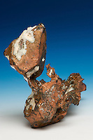 Large native copper crystal, Keweenaw County, Michigan, USA. The large crystal is approximately 3 cm tall.