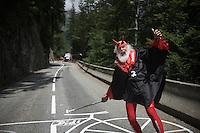 Cycling's most famous fan Didi 'The Devil'/'El Diabolo'/'Der Teufel' up the Col de Glandon (HC/1924m/21.7km@5.1%)<br /> <br /> stage 18: Gap - St-Jean-de-Maurienne (187km)<br /> 2015 Tour de France