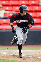 Kevin Dubler #35 of the Kannapolis Intimidators hustles down the first base line against the Hickory Crawdads at  L.P. Frans Stadium August 1, 2010, in Hickory, North Carolina.  Photo by Brian Westerholt / Four Seam Images