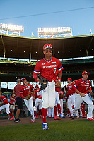 Jordyn Adams (3) of Green Hope High School in Cary, North Carolina takes the field for the Under Armour All-American Game presented by Baseball Factory on July 29, 2017 at Wrigley Field in Chicago, Illinois.  (Mike Janes/Four Seam Images)
