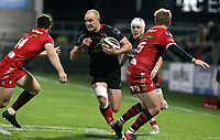 Sunday 22nd November 2020 | Ulster vs Scarlets<br /> <br /> Matt Faddes is tackled by Ryan Conbeer during the Guinness PRO14 Round 7 clash between Ulster Rugby and Scarlets at Kingspan Stadium, Ravenhill Park, Belfast, Northern Ireland. Photo by John Dickson / Dicksondigital