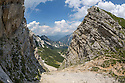Limestone cliffs and scree on the flank of Mala Mojstrovka. Triglav National Park, Julian Alps, Slovenia, July.