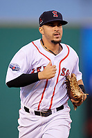 Salem Red Sox center fielder Chris Madera (3) jogs back to the dugout during the first game of a doubleheader against the Potomac Nationals on June 11, 2018 at Haley Toyota Field in Salem, Virginia.  Potomac defeated Salem 9-4.  (Mike Janes/Four Seam Images)