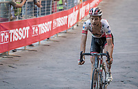 Davide Formolo (ITA/UAE-Emirates) rolls over the finish line in 2nd and needing some time to recover...<br /> <br /> 14th Strade Bianche 2020<br /> Siena > Siena: 184km (ITALY)<br /> <br /> delayed 2020 (summer!) edition because of the Covid19 pandemic > 1st post-Covid19 World Tour race after all races worldwide were cancelled in march 2020 by the UCI