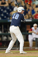 North Carolina third baseman Colin Moran (18) at bat during Game 10 of the 2013 Men's College World Series against the North Carolina State Wolfpack on June 20, 2013 at TD Ameritrade Park in Omaha, Nebraska. The Tar Heels defeated the Wolfpack 7-0, eliminating North Carolina State from the tournament. (Andrew Woolley/Four Seam Images)