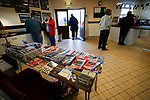 Old programmes on sale in the Stocksbridge club shop. Stocksbridge Park Steels v Pickering Town, Evo-Stik East Division, 17th November 2018. Stocksbridge Park Steels were born from the works team of the local British Steel plant that dominates the town north of Sheffield.<br /> Having missed out on promotion via the play offs in the previous season, Stocksbridge were hovering above the relegation zone in Northern Premier League Division One East, as they lost 0-2 to Pickering Town. Stocksbridge finished the season in 13th place.