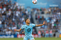 ST PAUL, MN - AUGUST 14: Hassani Dotson #31 of Minnesota United FC looks for the ball during a game between Los Angeles Galaxy and Minnesota United FC at Allianz Field on August 14, 2021 in St Paul, Minnesota.