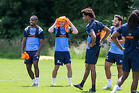 The Players enjoy the sunshine during the Wycombe Wanderers 2016/17 Pre Season Training Session at Wycombe Training Ground, High Wycombe, England on 1 July 2016. Photo by Andy Rowland / PRiME Media Images.
