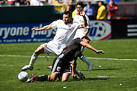 DC United's Christian Gomez is taken down in the box by LA's Dema Kovalenko. The LA Galaxy and DC United play to 2-2 draw at Home Depot Center stadium in Carson, California on Sunday March 22, 2009.
